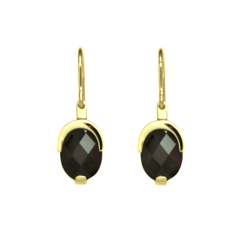 Garnet checkerboard cut earrings by Benjamin Black Goldsmiths