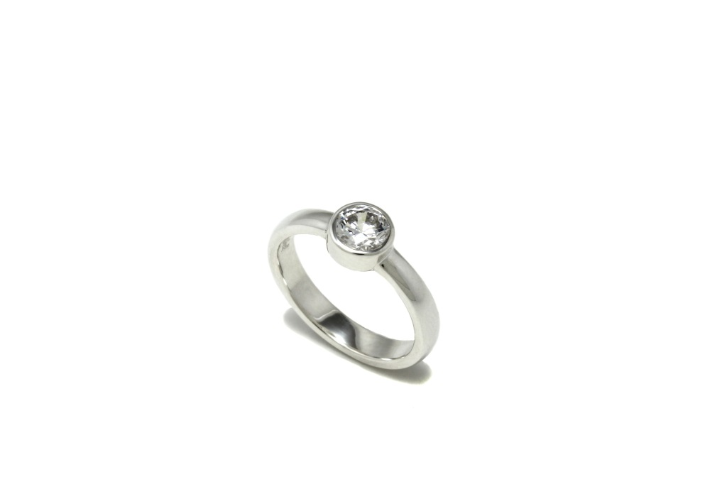 Bezel Set Engagement Ring by Benjamin Black Goldsmiths
