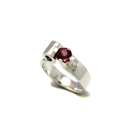 Pink Tourmaline Ring set in Sterling Silver by Benjamin Black Goldsmiths