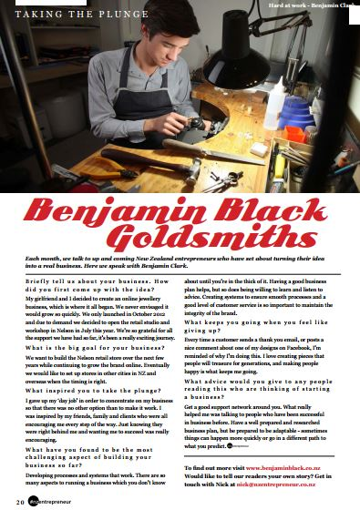 Benjamin Black in Entrepreneur Magazine December 2013