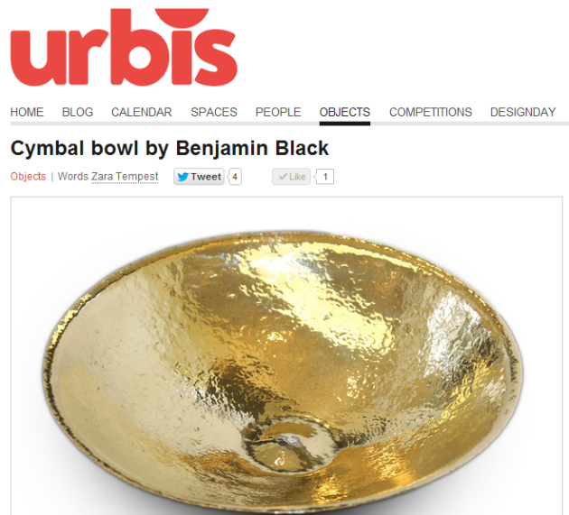 Urbis Magazine Blog, The Cymbal Bowl, by Benjamin Black Goldsmiths