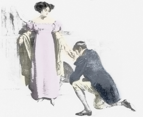 Victorian picture of a man proposing, Benjamin Black Goldsmiths.
