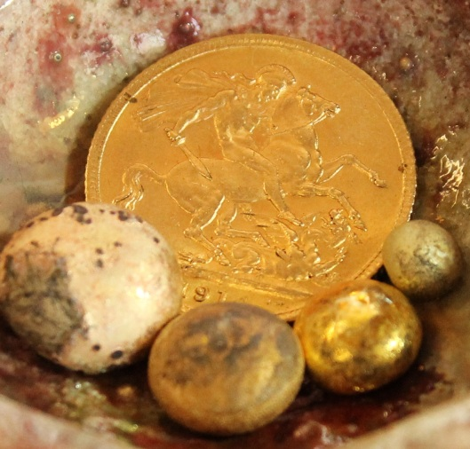 The gold sovereign coin is alloyed with other metals.