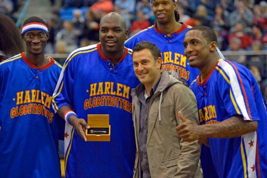 Nelson Mayor, Aldo Miccio, presenting the Key to the City of Nelson to the Harlem Globetrotters