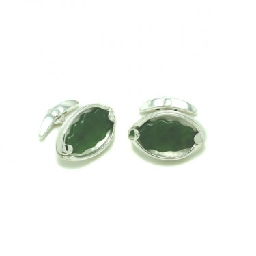 Raukawa Pounamu Cufflinks by Benjamin Black Goldsmiths