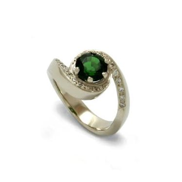 Chrome diopside and diamond ring by Benjamin Black Goldsmiths