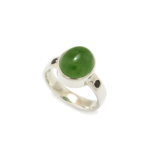 Sterling silver and greenstone ring with black diamonds by Benjamin Black Goldsmiths