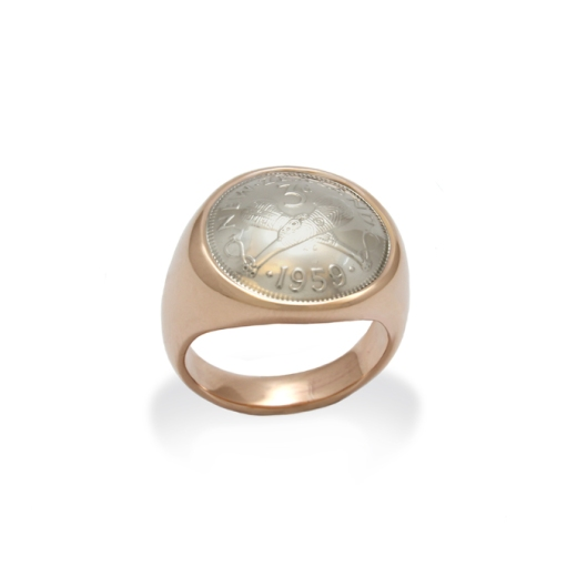 Threepence and rose gold ring by Benjamin Black Goldsmiths