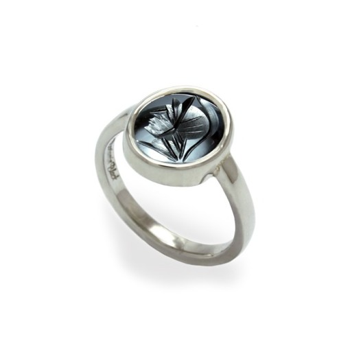 Hematite intaglio ring by Benjamin Black Goldsmiths