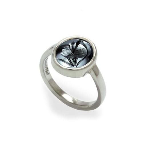 Hematite intaglio ring by Benjamin Black Goldsmiths
