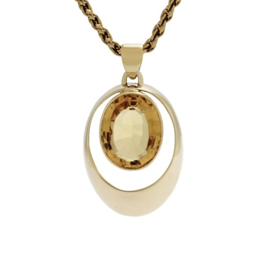 Gold pendant with a golden citrine, made using the customer's brooch.