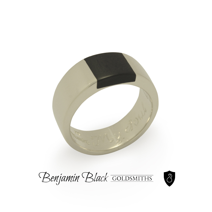 Custom argillite and white gold ring by Benjamin Black Goldsmiths.