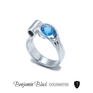 Custom Blue Topaz Ring by Benjamin Black Goldsmiths