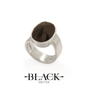 Black Cubic Zirconia and Sterling Silver Ring by Black Matter from Benjamin Black Goldsmiths