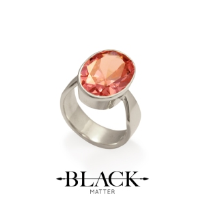 Pink Cubic Zirconia and Sterling Silver Ring by After Midnight from Benjamin Black Goldsmiths