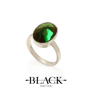 Green Cubic Zirconia and Sterling Silver Ring from the After Midnight Collection by Black Matter.