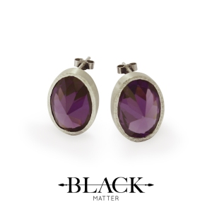 Purple Cubic Zirconia and Sterling Silver Stud Earrings from the After Midnight Collection by Black Matter