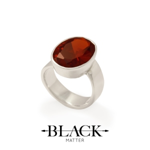 Red Cubic Zirconia and Sterling Silver Ring from the After Midnight Collection by Black Matter, from Benjamin Black Goldsmiths.